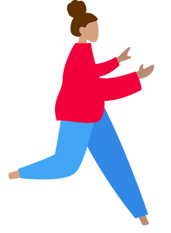 Springende Studentin